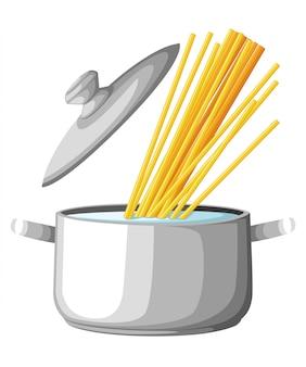Faire bouillir de l'eau dans une casserole. repasser la marmite sur la cuisinière avec de l'eau et de la vapeur. illustration page du site web et spaghetti d'application mobile.