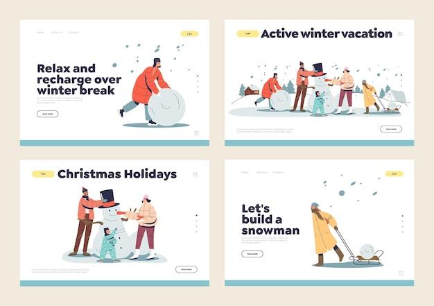 Faire le concept de bonhomme de neige d'un ensemble de pages de destination avec la famille, les parents et les enfants en plein air s'amusant