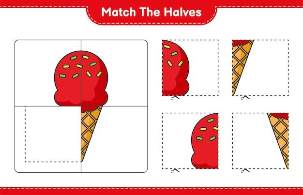 Faire correspondre les moitiés. faire correspondre les moitiés de crème glacée. jeu éducatif pour enfants, feuille de calcul imprimable