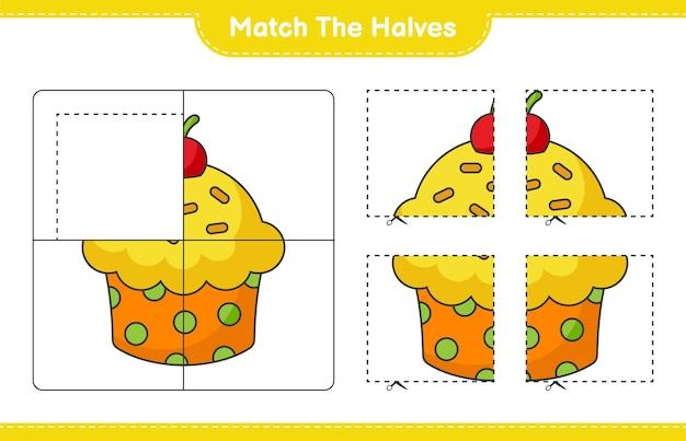 Faire correspondre les moitiés. faire correspondre les moitiés de cup cake. jeu éducatif pour enfants, feuille de calcul imprimable