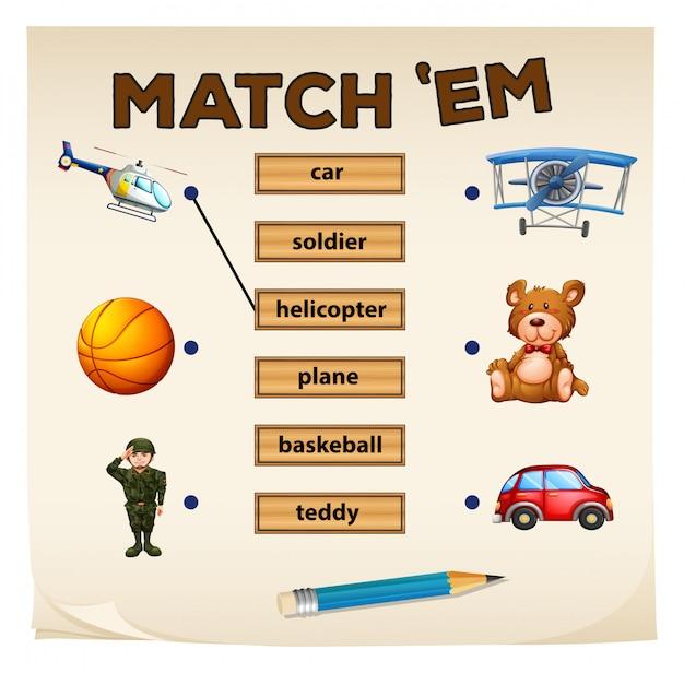 Faire correspondre les objets et les mots du jeu