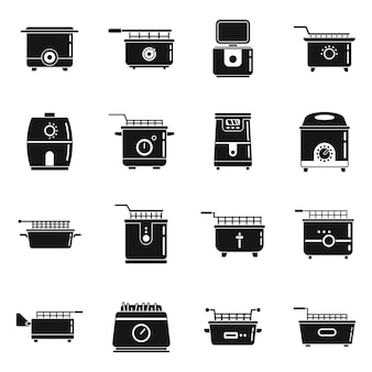 Faire cuire des icônes de friteuse définie un vecteur simple. cuisine électrique. friteuse à frites