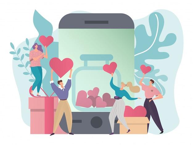 Faire un don d'illustration de concept, les gens de dessin animé minuscule plat donnent des coeurs, faire de la charité, de l'aide sociale dans la boîte de don d'argent