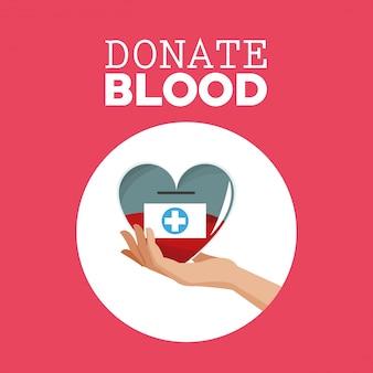 Faire un don de main de sang tenant des soins cardiaques