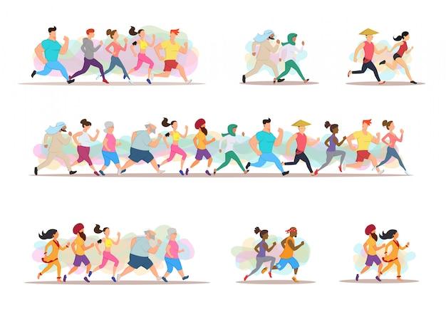 Faire du jogging. groupe de coureurs en mouvement.
