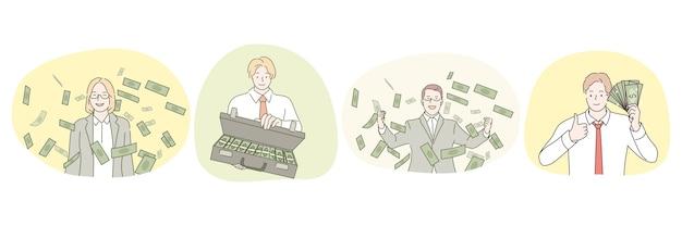 Faire du profit, succès, gens riches, salaire élevé, concept d'homme d'affaires.