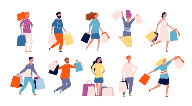 Faire du shopping. homme et femme achetant des produits dans la collection de caractères de l'acheteur de vecteur de marché. illustration acheteur accro au shopping, femme faire du shopping