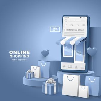 Faire du shopping sur les réseaux sociaux. smartphone avec sac et coffret cadeau. livraison des magasins numériques. illustration