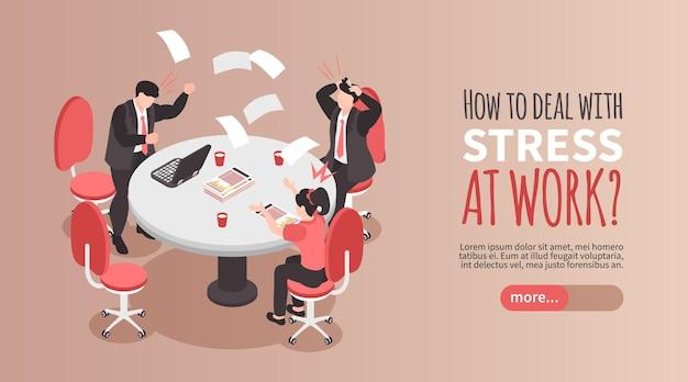 Faire face à la bannière de stress avec des personnes frustrées au travail au bureau 3d isométrique