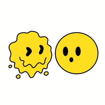 Faire fondre l'impression de visage emoji déformé et normal pour t-shirt, affiche, logo, carte. illustration vectorielle de personnage de dessin animé de style années 70 dessiné à la main. impression de visage psychédélique pour t-shirt, affiche, concept de carte