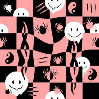Faire fondre le visage de sourire, vérifier la grille, modèle sans couture d'araignée. illustration de dessin animé de doodle dessinés à la main de vecteur. fusion, techno, acide, trippy, cellules, araignées, tribal, concept d'impression de papier peint à motif transparent yin yang