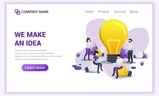 Faire des idées pour la page de destination des entreprises.