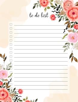 Faire liste avec aquarelle florale