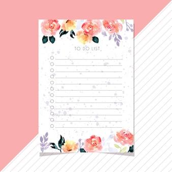 Faire la liste avec beau cadre de fleur aquarelle