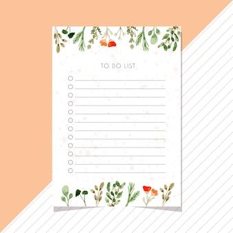 Faire la liste carte avec feuilles frontière aquarelle