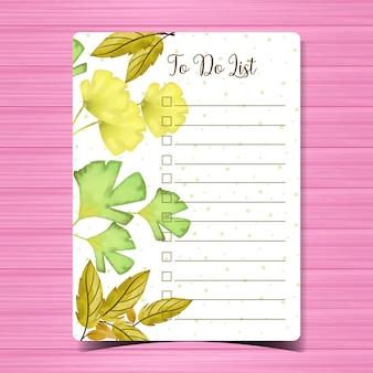 Faire la liste avec fond d'automne