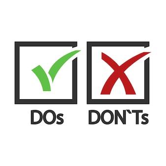 À faire et à ne pas faire oui et non illustration.