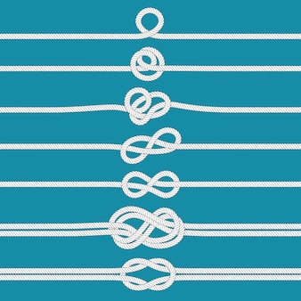 Faire un nœud. nœuds de corde attachés nautiques, cordes marines et ensemble d'illustration de diviseur de cordage de mariage