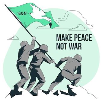 Faire la paix pas la guerre concept illustration