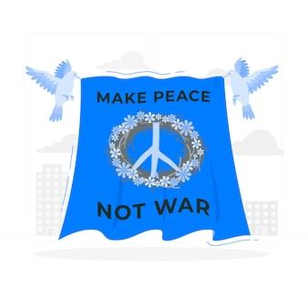 Faire la paix pas la guerre illustration de concept
