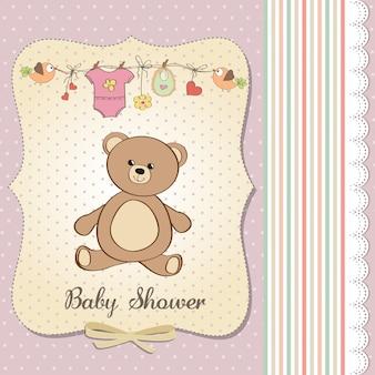 Faire-part de bébé fille romantique avec ours en peluche