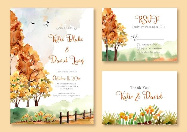 Faire-part de mariage aquarelle avec des arbres jaunes dans le paysage simple de terrain