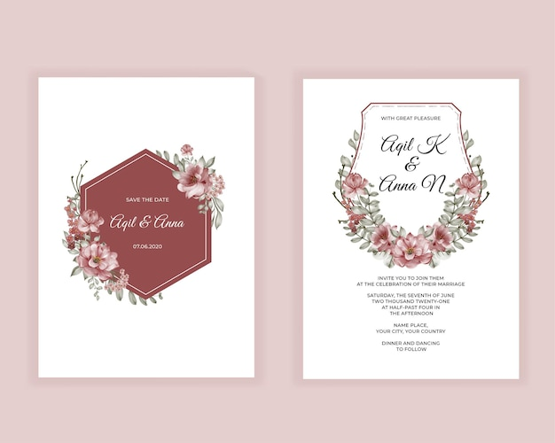 Faire-part de mariage aquarelle fleur rose bourgogne