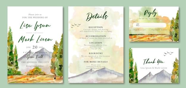 Faire-part de mariage aquarelle paysage montagne et arbres verts calmes