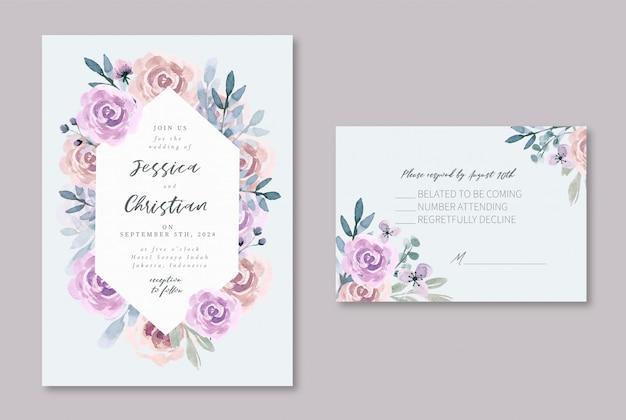 Faire-part de mariage aquarelle violet mauve doux