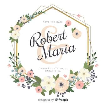 Faire-part de mariage de beau cadre floral