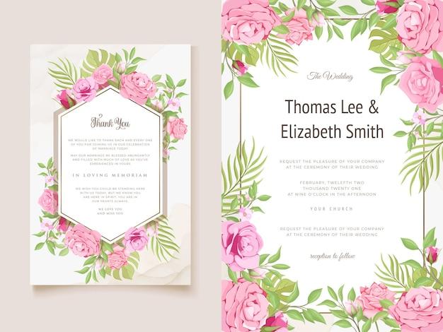 Faire-part de mariage avec un beau modèle de fleurs et de feuilles