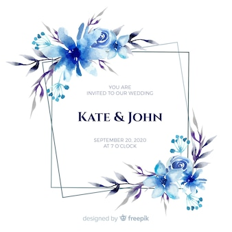 Faire-part de mariage bleu aquarelle cadre floral