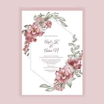 Faire-part de mariage de cadre aquarelle fleur de roses bordeaux