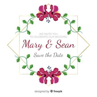 Faire-part de mariage cadre floral peint à la main