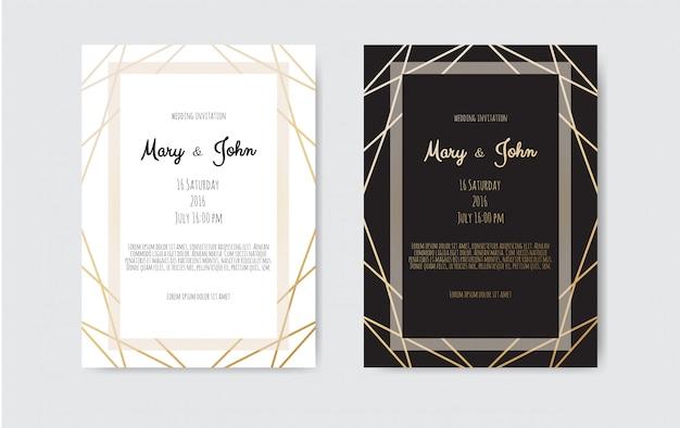 Faire-part de mariage, carte d'invitation avec lignes d'art géométrique, bordure en feuille d'or, cadre.