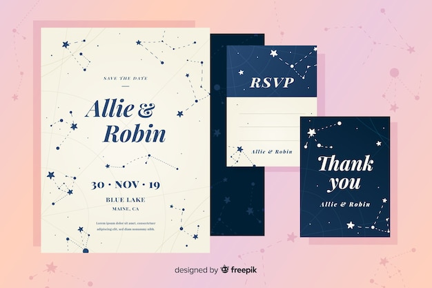 Faire-part de mariage design plat avec constellations