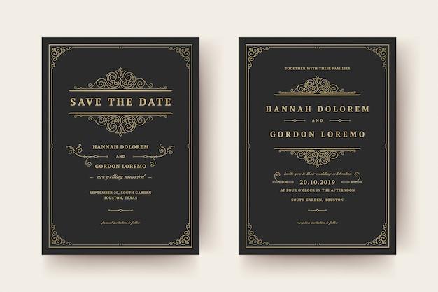 Faire-part de mariage et enregistrer les cartes de date fleurit les tourbillons de vignettes d'ornements.
