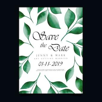 Faire-part de mariage de feuilles d'aquarelle
