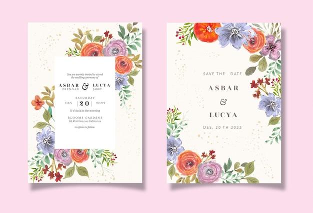 Faire-part de mariage avec fleur colorée