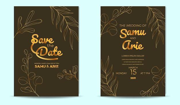 Faire-part de mariage fleur d'or