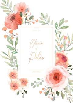 Faire-part de mariage avec fleurs aquarelles prêtes à imprimer