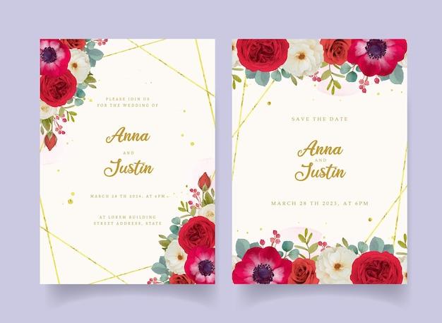 Faire-part de mariage avec des fleurs aquarelles rouges