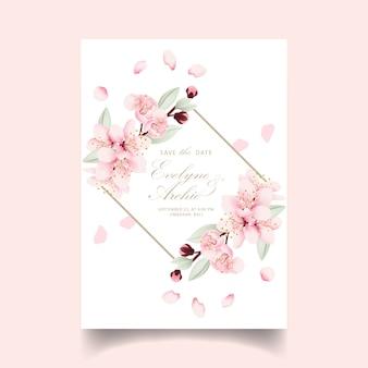 Faire-part de mariage avec des fleurs de cerisier