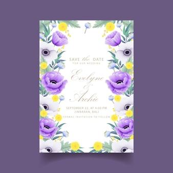 Faire-part de mariage avec des fleurs d'eucalyptus, pavot, anémone et craspedia