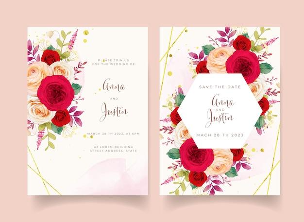 Faire-part de mariage avec des fleurs de roses rouges