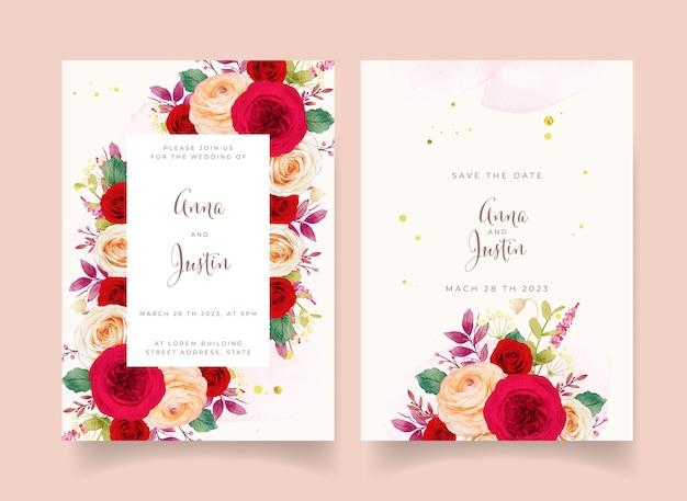 Faire-part De Mariage Avec Des Fleurs De Roses Rouges Vecteur Premium