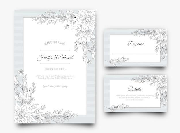 Faire-part de mariage floral argenté