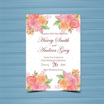 Faire-part de mariage floral avec de belles fleurs