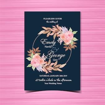 Faire-part de mariage floral avec cadre magnifique