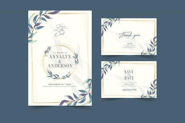 Faire-part de mariage floral de couleur bleuâtre